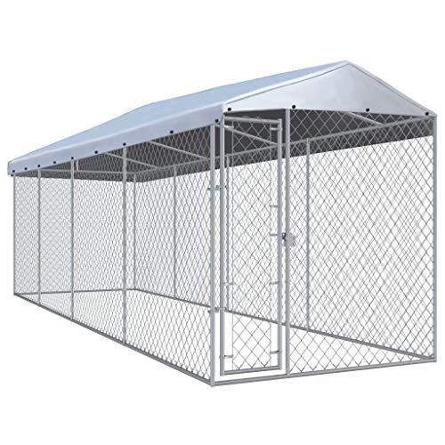 vidaXL Outdoor Hundezwinger mit Überdachung 760x190x225 cm Hundehütte Hundekäfig