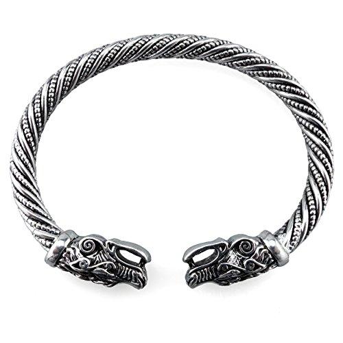 Wikinger Armreif Fenris Wolf - Silber oder Gold / Bronze (Silber)