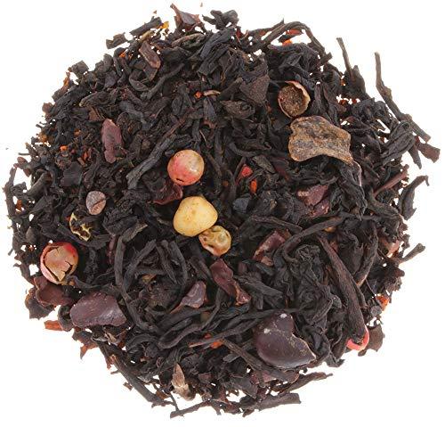 AURESA Schwarztee Azteken-Feuer | Weiße Schokolade und scharfe Chili | Ein feuriges Geschmackserlebnis mit süßer Note