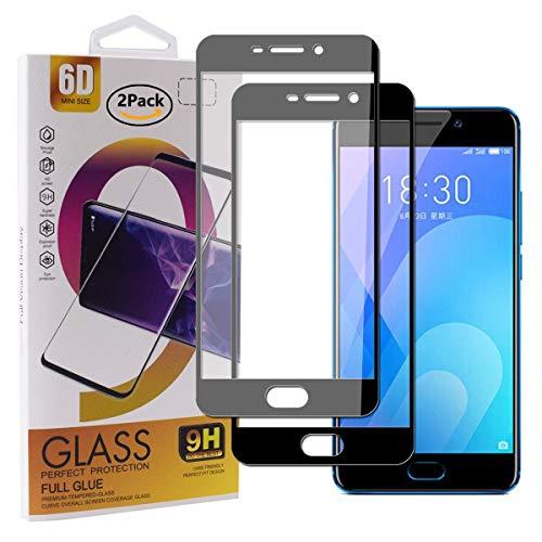 Guran [2 Pezzi Pellicola Vetro Temperato per Meizu M6 Note/Meizu Note6 Smartphone Copertura Completa 9H Durezza Anti-Impronte HD Pellicola Protettiva - Nero