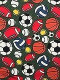 Jersey Stoff Kinderstoff Ball Fußball Khaki Breite 150 cm