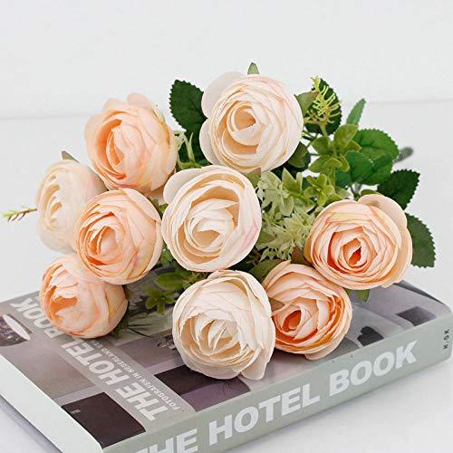YYCVVH Flor Artificial Flores Poner Ramo de Rosa de té Flores Falsas para Bodas, hogar, Hotel, Fiestas centros de decoración 5 Palos-Champán en Polvo