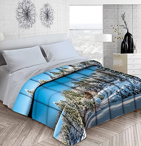 HomeLife Edredón individual fabricado en Italia, 170 x 260 cm, peso 300 g/m², para cama de invierno con impresión digital, cálido en microfibra para cama individual, para el bosque invernal