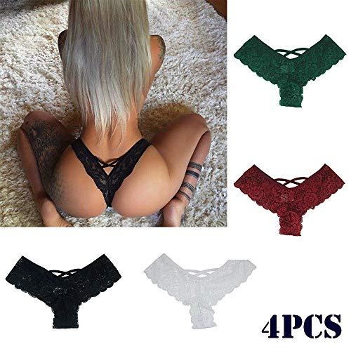 Dorical Pack de 4, Bragas de Encaje de Mujer, Ropa Interior Sexy, Braguitas Ultra Delgadas Culotte Paquete de 4. Bragas con seductores Detalles de Encaje Encaje 4pcs