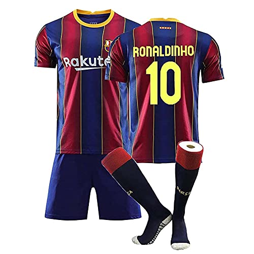 Mijiang Fußball Trikots, 10 Ronaldinho Jersey Herrenfußbälle Jersey-Set, Erwachsene Kinder Team Training Anzug Trikots T-Shirt + Shorts + Socken,Rot,24