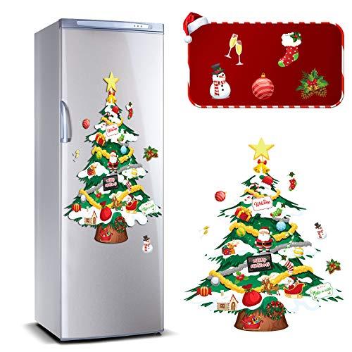 Outus 9 Pieces Christmas Refrigerator Magnets Tree Snowman Magnets Set Xmas Tree Magnets Magnetic Christmas Tree Refrigerator Stickers Decoration for Christmas Holiday Refrigerator Metal Door Decor