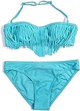 PinkLu Bikini de Traje de baño Dividido con Flecos en Color Liso para niñas de los niños