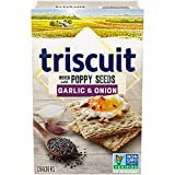 TRISCUIT Crackers, Garlic & Onion with Poppy Seeds Flavor, 1 Box (8 oz)