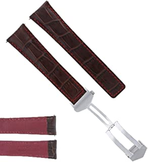 22MM BROWN RED LEATHER BAND STRAP FOR TAG HEUER CARRERA MONACO CALIBRE 12 CLASP