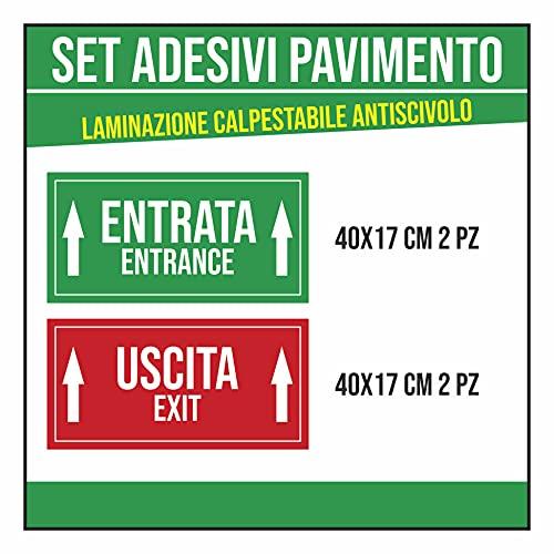 Adesivi Calpestabili Per Pavimento - ENTRATA / USCITA - ITA/INGLESE- 4 pezzi