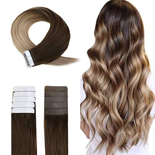 Easyouth Tape on Brasilianische Haarverlängerung 20pcs 100% Remy-Echthaarverlängerungen (#4/18/27 Mittelbraun, Gemischt, Aschblond und Honigblond, 45 cm, 40 g)