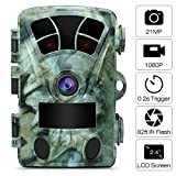 AIMTOM 21MP 1080P Hunting Trail Camera 2.4' Screen 0.2s Fast Trigger 130 Degree Wide Angle 82Ft Flash Range Stealthy Wildlife Game Cam Super High Power IR LEDs Night Vision Spray Water Protection