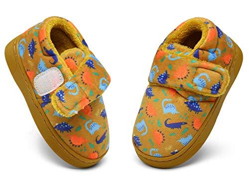 ZOGEME Lindo Animal Zapatillas de Casa para Niñas Niños Cálido Invierno Pantuflas Suave Caliente Peluche Zapatos de Interior, Marrón Dinosaurio