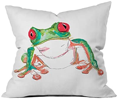 DENY Designs Casey Rogers Froglet Throw Pillow, 18 by 18 Inch