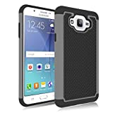 Galaxy J7 Case, Jeylly [Shock Proof] [Grey] Dual Layer Defender Protective Scratch Absorbing Hybrid Rubber Plastic Impact Defender Rugged Hard Case Cover Shield for Samsung Galaxy J7 Released 2015