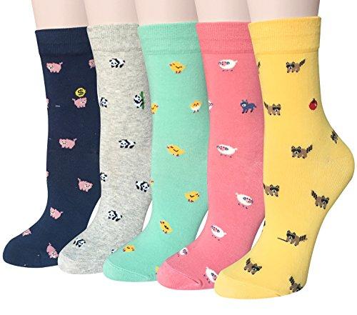 Chalier 5 Paare Damen Lustige Cat Socken mit Motiv Karikatur Tier Witzige Niedlich Katze H& Coole Bunte Socken Baumwolle Weihnachten Geschenkideen für Frauen Mädchen
