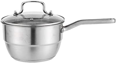 Lcme Double Boilers&Classic Stainless Steel Non-Stick Saucepan, Steam Melting Pot with Tempered Glass Lid Multifunctional Composite Thick Stainless Steel Milk Pan