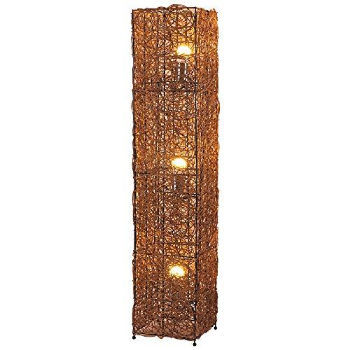 AuFloor Planta de luz Personalidad Estilo Pastoral Cubo de Tejido a Mano de la lámpara de Mimbre Rattan LED Lámpara de Noche E27 Cubierta Decorativo del Accesorio de iluminación for Estar Cocina Casa
