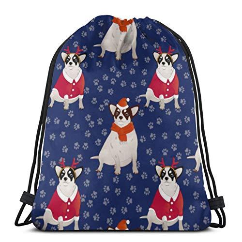 Patrón de tienda asequible con perros y rastros cordón mochila deporte bolsas cinch bolsas para viajar y almacenamiento para hombres y mujeres 17x14 pulgadas