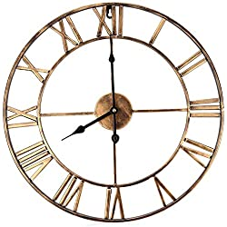 Qukueoy 19inch Large Roman Numeral Wall Clocks,Retro Vintage Round Hanging Watch, Iron Metal Industrial Silent Wall Clock for Indoor Outdoor Home Office Living Room (Bronze, 19inch)