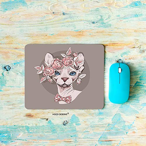 HGOD DESIGNS Gaming Mouse Pad Cat,Funny Sphynx Cat in a Rose Flower Wreath and in a Polka dot Bow tie Mousepad Rectangle Non-Slip Rubber Mouse Pads(7.9'X9.5')