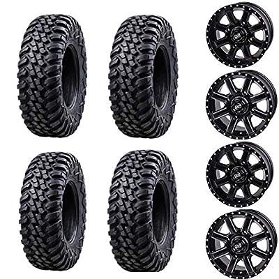 Bundle Package- Four 30x10-14 TUSK TERRABITE Tires on Four TUSK CASCADE wheels - Quantity of 4-4/137 Bolt Pattern - Fits: Honda Pioneer 1000 1000-5 (5+2 Offset, Matte Black)