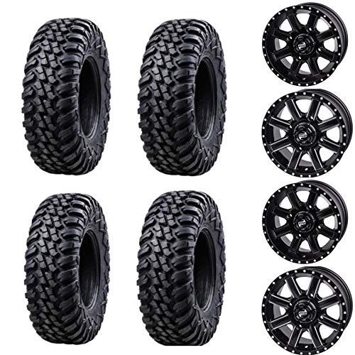 Bundle Package- Four 28x10-14 TUSK TERRABITE Tires on Four TUSK CASCADE wheels - Quantity of 4-4/156 Bolt Pattern - Fits: POLARIS RZR GENERAL RANGER 1000 900 (4+3 Offset, Machined/Black)