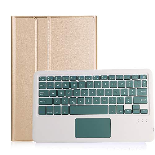 HaoHZ Funda Teclado para Galaxy Tab S7 11 '' 2020 (Modelo SM-T870 / T875 / T878) con Soporte para Lápiz S, Teclado Bluetooth Inalámbrico Desmontable con Panel Táctil,Gold Case,Green2 Keyboard