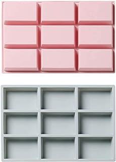 ZHEYANG Lot de 2 moules à gâteau à 9 trous carrés en silicone pour pain, glace, chocolat