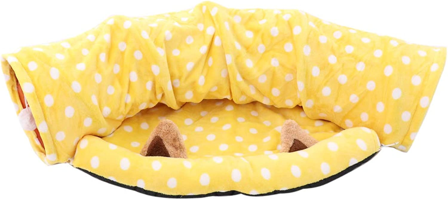 Baoblaze Cat Foldable Tunnel  Pet Tunnels Cats Sleeping Bed  Cat Litter Cushion Pad  Yellow