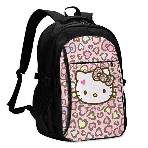 Hello Kitty - Mochila para portátil con carga USB y puerto para auriculares para hombre y mujer, gran bolsa ligera para la escuela, el trabajo y los viajes.