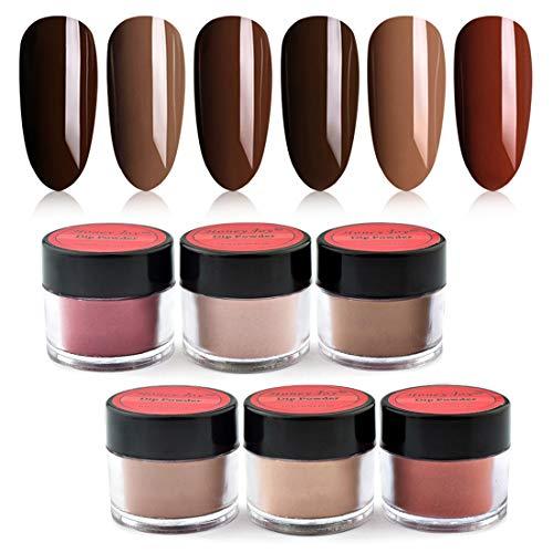 Honey Joy 6 BOX/SET Dark Brown Dip for Nails Powder Kit Chocolate Glaze Fine Dipping Powder Colors No Need Lamp Cure,Like Gel Polish Effect,Even & Smooth Finishing (DP-C-6pcs-10g/box)