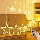 Luces de Cortina de Estrella, 12 Estrellas 138 LEDs Estrella Guirnalda, Luces de Cadena Estrelladas, 8 Modos Ajustables, Guirnaldas Cortina de Estrellas, Luces de Cortina para Jardín, Bodas, Navidad
