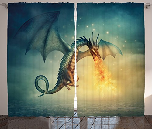 Ambesonne Fantasy Curtains by, Legendary Dragon in the Sky with Magical Flame Fairytale Creature Surreal Design, Living Room Bedroom Window Drapes 2 Panel Set, 108W X 63L Inches, Teal Yellow