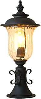 ZHCWT Garden Light, Garden Fence Post Light Outdoor Waterproof Rust-Proof Glass Column Lamp Classic Exterior Decor Courtya...