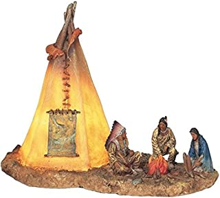 StealStreet SS-G-11390 Native Americans with Lighting Tipi Collectible Indian Decoration Statue