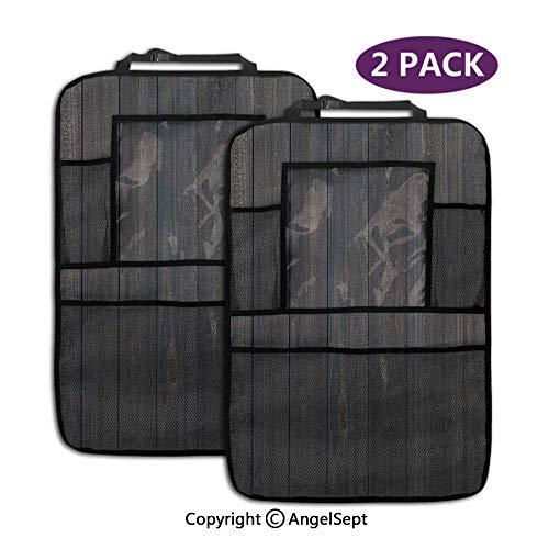 Not applicable Aufbewahrungstaschen Sitzlehnenschutz, Holzzaun Rau Rustikal Verwitterte Oberfläche Holz Eiche Dielen Dunkelblau, mit 9,5-Zoll-Tablet-Halter (2 Stück)