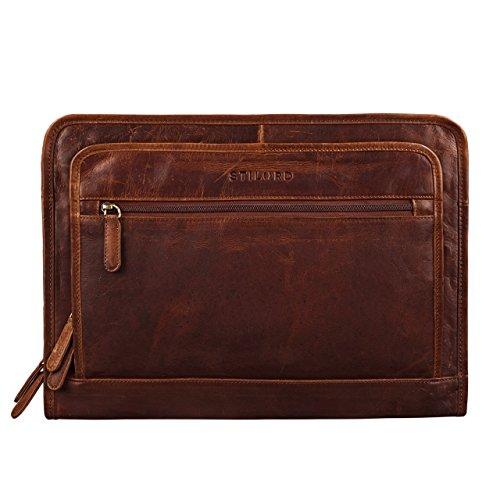 STILORD 'Maximilian' Dokumentenmappe Leder 13,3 Zoll Vintage Schreibmappe MacBook Aktentasche Aktenmappe, Farbe:Kara - Cognac