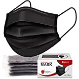 Comix Face-Mask with 3-Layer Black Disposable Face Masks, Pack of 50