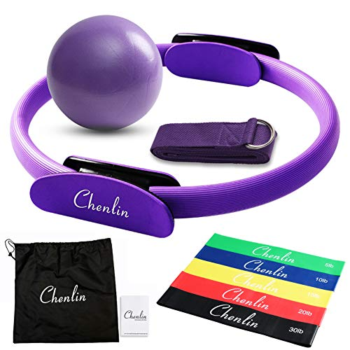 Chenlin 14 inch Pilates Ring Set,Yoga Fitness Magic Circle,Resistance Loop Bands,Pilates Ball,Stretch Strap for Home Fitness,Strength Training,Physical Therapy,Home Exercise Yoga Equipment Set