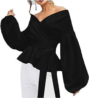 Women's Elegant V Neck Puff Sleeve Tunic Tops Belted Wrap Dressy Shirt Blouse