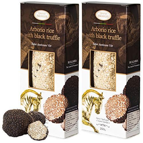 Arborio Risotto Black truffle Rice Gourmet Arborio rijst met zwarte truffel Tuber Aestivum Rijk aan antioxidanten, vezels, 2 x 250 g