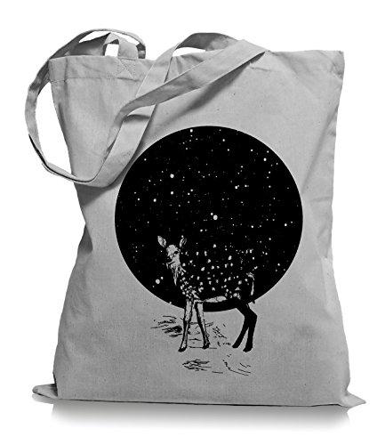 Ma2ca Deer Moon Stoffbeutel   Hirsch Tragetasche Mond Reh -light_grey