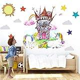 Unicornio Pegatinas de Pared Rosado Unicornio Vinilos Decorativos Arcoiris Castillo Mariposa Adhesivos Pared Habitación Infantiles Decoración Fiesta Cumpleaños de Navidad Guardería