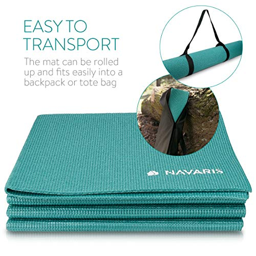 Navaris Klappbare Yoga Matte Fitnessmatte - 4mm Sportmatte Fitness Pilates Sport Gymnastikmatte rutschfest - Reise Yogamatte faltbar - versch. Farben