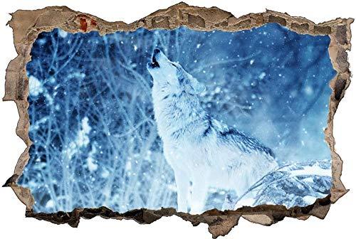Pegatinas de Pared 3D,Tatuajes de Pared Etiqueta de la Pared Decorativas para Dormitorio Habitación de los niños de Papel de Pared Desmontable,Lobo de hielo de nieve 70x110cm