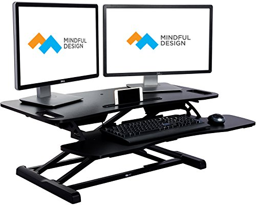 Adjustable Standing Desk - Sit To Stand Elevating Desk Top Workstation w/ Keyboard Tray, Fits Dual Monitors By Mindful Design (Black, Extended)