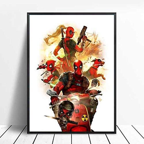 zhuifengshaonian Deadpool Movie HD Posters e Impresiones Lienzo Pintura Cuadros de Pared para Sala de Estar Cartel Vintage decoración del hogar(Zt-1538) Sin Marco Poster 40x60cm