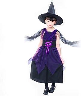 LAIYYI Halloween cosplay klänning för flickor marscher hexkostym orange/lila med häxmössa för halloween party