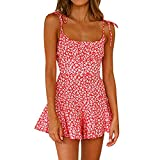 Vestido de verano para mujer de verano sexy tirantes mono abierto espalda pantalones cortos falda pierna ancha pantalones, rosso, L